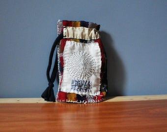 Upcycled Kimono Japanese Boro Bag/Sashiko Kanji Rebirth Bag/Boho Embroidery Bag