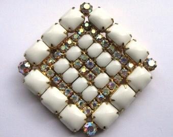Large Vintage White and Aurora Borealis (AB) Diamond Shaped Brooch