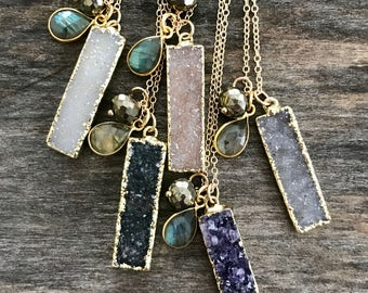 Druzy Bar Necklace, Drusy Necklace, Gemstone Necklace, Bar Necklace, Gemstone Bar Necklace, Druzy Quartz Jewelry, Raw Stone Necklace