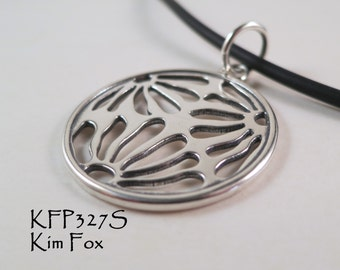 Round Asian Style Pendant of three pierced flower pattern designed by Kim Fox in Sterling Silver