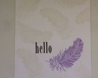 Hello feather card