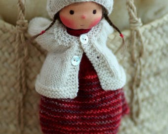 "Reserved for Lisa-OOAK, Waldorf doll, Knitted doll Ulla- 14"" by Peperuda dolls, soft doll, handmade doll, puppen, rag doll, Steiner doll, ar"