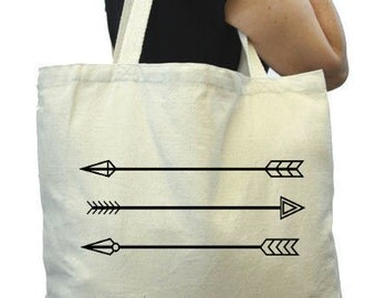 Canvas Grocery Bag, Arrows, Thick Tote Bag, Reuable Grocery Tote Bag