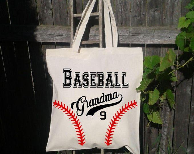 Baseball Mom Tote Bag, Reusable Tote Bag, Grocery Tote, Baseball Grandma, Baseball Season
