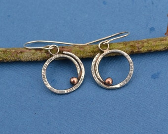 Mixed Metal Sterling Silver and Copper Spiral Earrings