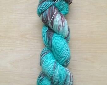 Mako colorway superwash merino wool sock yarn