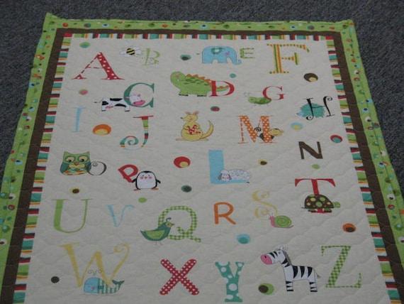 Alphabet baby blanket quilt a b c quilt baby floor mat for Floor quilt for babies