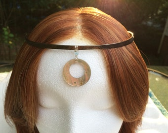 Natural Shell Circlet Headpiece with Pewter Lacing
