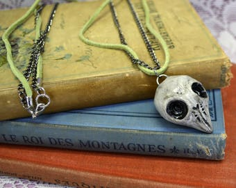 Long Rustic Bohemian Handmade Sculpted Clay Antiqued White Bird Skull Green Leather Necklace