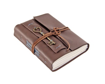 Brown Leather Journal with Lined Paper and Key Heart Key Charm