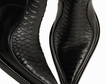 Leather Boots, Cowboy Boots:  Black Python Z-Boot