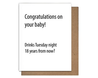 New Baby Congratulations Drinks Card, Funny, Letterpress