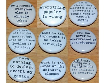 Oscar Wilde Quotes Badge 25mm / 1 inch Writer/Poet