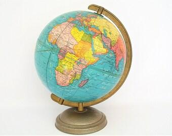 """Vintage World Globe - 1958 Cram's Terrestrial - 10.5"""" Cold War Era"""