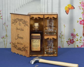 Personalized Wedding Ceremony Spirits Box with 2 Custom Etched Tumblers