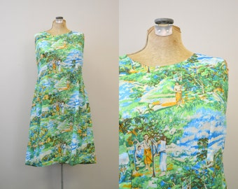 1970s Candy Casuals Hawaiian Hostess Dress