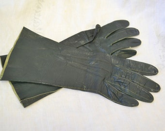 1940s Dark Green Leather Gloves