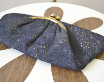 1960s Navy and Copper Fold-over Clutch