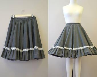 1970s Black Polka Dot and Ruffles Full Skirt