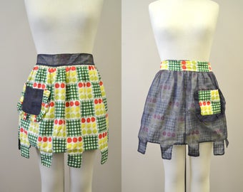 1950s Reversible Fruit Print Cotton and Organza Apron