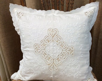 Shabby Chic Lace and Battenberg 17 x 17 Square Tie Back Pillow Cover