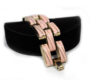 Pink Enamel Link Bracelet - Chunky, Tank Tracks, ca. 1950s