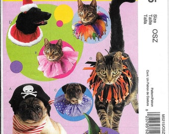 McCall's M5215 Pets Cats And Dogs Collars And Hats Costume Sewing Pattern UNCUT Pirate, Santa, Halloween