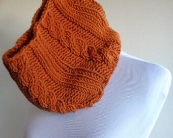 Chuncky Hand Knit Cowl -  Pumpkin
