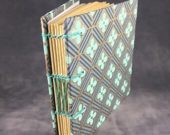 Mint and Gold Patterned Coptic Bound Journal