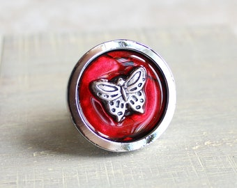 red butterfly drawer pull, decorative pull, cabinet knob, childrens room, dresser knob, dresser pull, drawer knob, kids decor