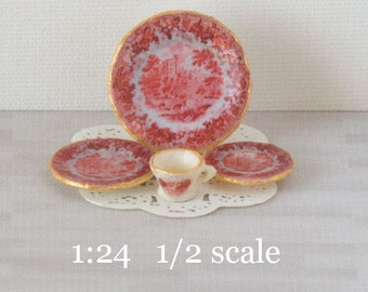 1:24 Red Toile Decals for Miniature Dishes