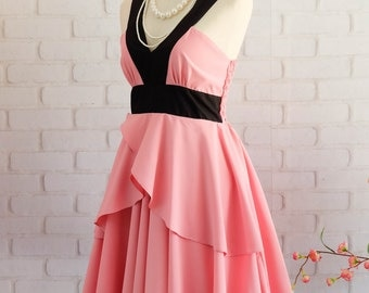 Peony pink dress Retro vintage dress style pink party dress pink prom dress pink cocktail dress pink bridesmaid dress pink dress