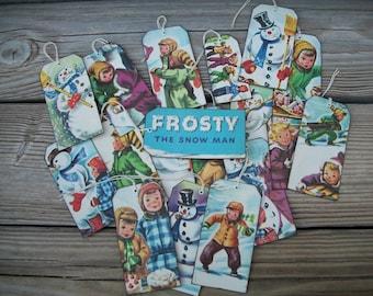 Frosty the Snowman, Vintage Hangtags,Handmade