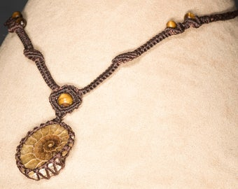 Ammonite Necklace in Brown Micro Macrame
