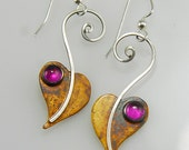 Patina Sterling Silver Ruby Lilac Leaf Earrings, Heart Earrings with Red Corundum, Dangle Spiral Silver Earrings, July Birthstone