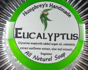 EUCALYPTUS Soap, Unisex Shave & Shampoo Soap, Men's Women's Round Glycerin Puck, Beard Wash Wet Shaving Soap, Green, Essential Oil
