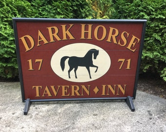 "21"" x 30"", Dark Horse Tavern /  Inn, Trade Sign, Wood, Horse, Tavern, Inn, Primitive, Folk Art, Sign, Hand Painted,"
