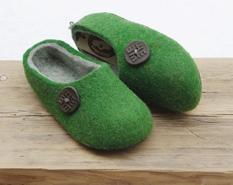 Hand Made Felted Wool Slippers in Green with  Dark Gray inside . Size EU 42, 43 ready to ship!