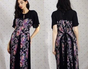 Clean out SALE 45 to 40! 90s 1990s grunge Vintage maxi dress// 90s does 30s Butterfly Sleeve Dress// Sweetheart Floral Maxi Dress