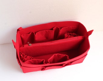 Diaper Bag organizer insert- Large Purse organizer for Louis Vuitton Neverful MM in Red fabric
