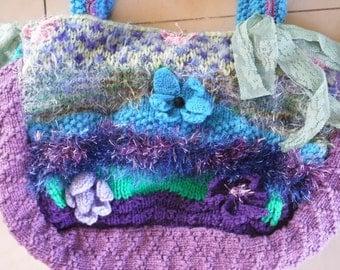 20%OFF bohemian bag, knitted bag, gypsy bag, alternative woolen bag, shabby bag, womens clothing, bag, OOAK bag, felted bag, shabby chic,