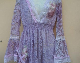 """20%OFF dusky lilac top..skinny in the arms and suit a small to 36"""" bust....."""