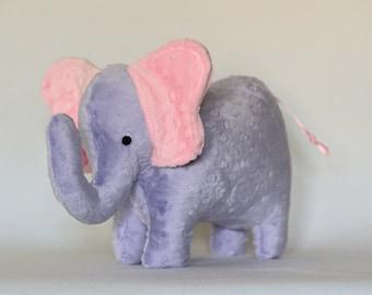 Stuffed Elephant Toy - Purple and Pink Minky Plush Elephant - Elephant Toy - Nursery Decor - Baby Christmas Gift - Kids Christmas Gift