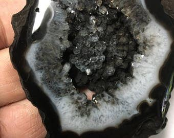 Big Black Druzy Agate Slice 76g