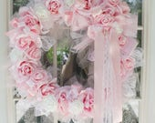 Pink Princess Romance and Roses Luxe Roses Candy French Wreath Bridal Shabby Chic Valentines Spring Marie Antoinette wedding
