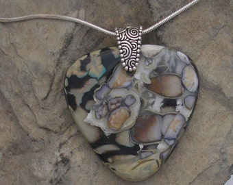 OOAK Fused Glass Reaction Necklace Fused Glass Earthy Pendant