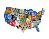 "USA license plate map,  custom  vintage metal sign, 35"" X 21"" garage art, wall decor, travel"