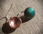 Opalescent blue green circle earrings