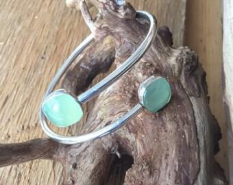 Phrenite sterling bangle bracelet