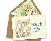 BOX OF 12 Peter Rabbit Thank You Notes